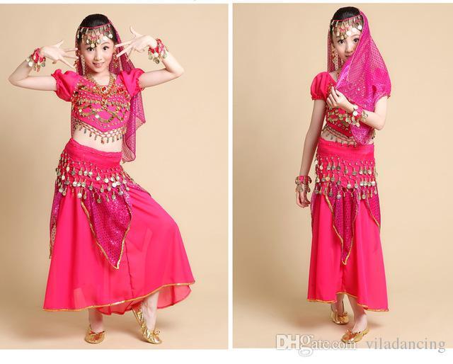 Child belly dance sexy costume for kids indian dance female child short-sleeve costume skirt Top&Skirt&Belt&Headband&Bracelet 3 colors S/M/L