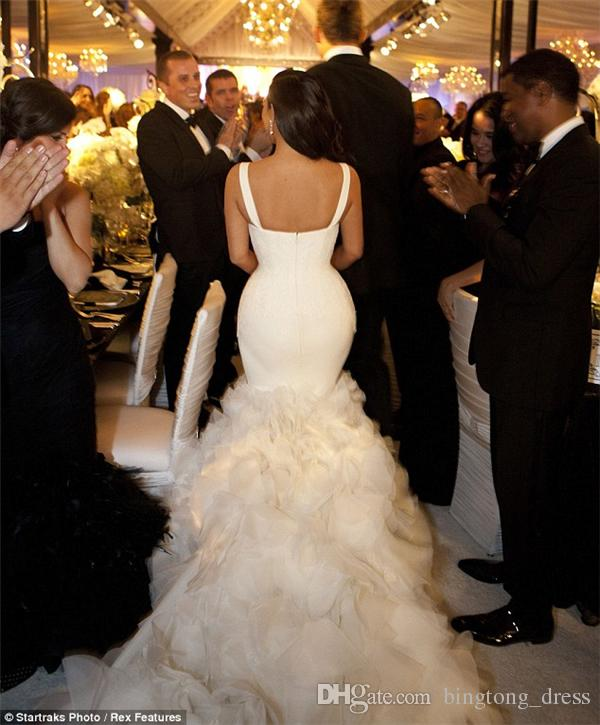 2017 Luxury julie vino mermaid wedding dress ruffled bottom