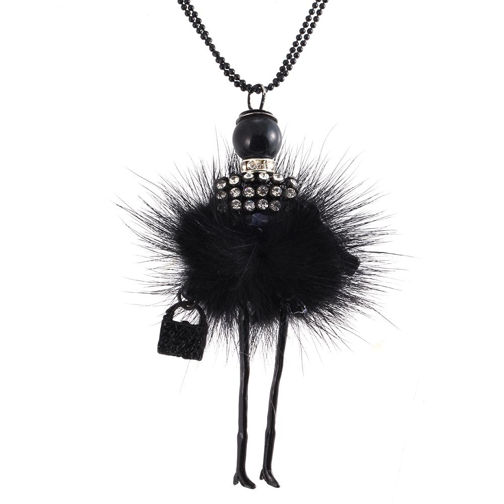 Wholesale-Modern Design Doll Necklace Long Chain Pendant Rhinestone Necklaces Women Girl Crystal Bag Statement Jewelry Feather Fitting
