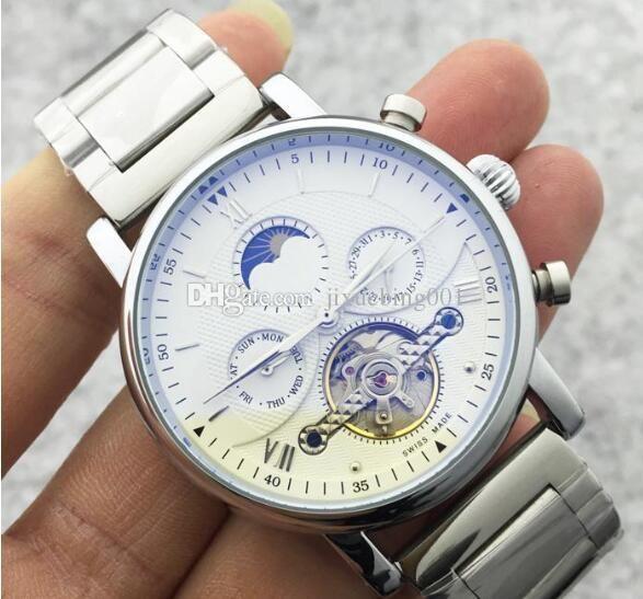 2020 Men Watch Skeleton Mecânica Automatic Mão-de enrolamento de padrão masculino Relógios Sun Moon Phase relógios de pulso de aço inoxidável Strap relógio