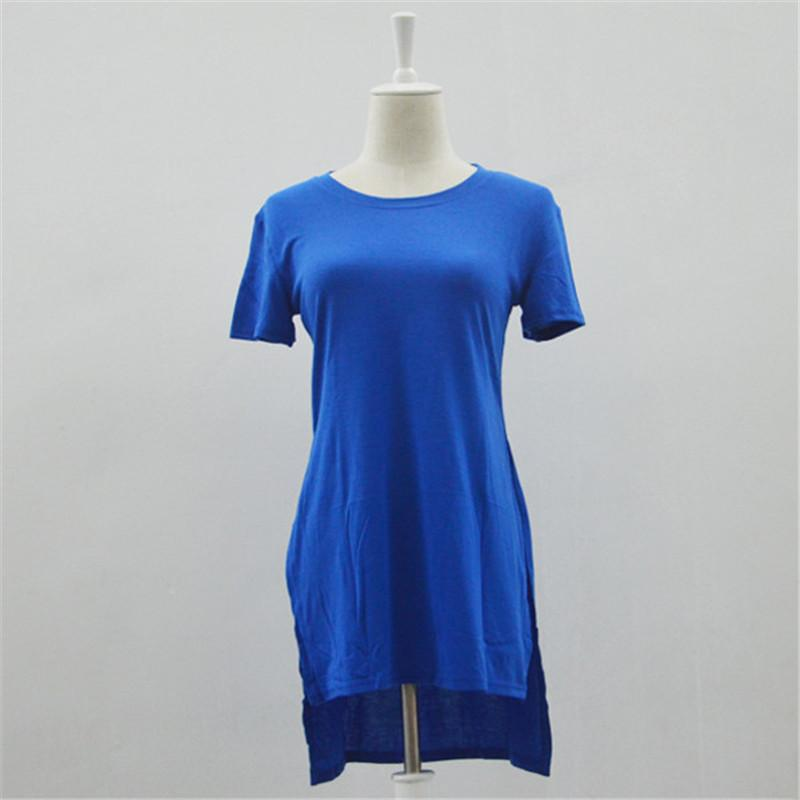 Toptan-Artı Boyutu S-XL 2016 Yeni Yaz Yan Bölünmüş Yarık gömlek Tops Kadın T Tee Gömlek Elbise Kısa Kollu Uzun Casual Yenilik Tops