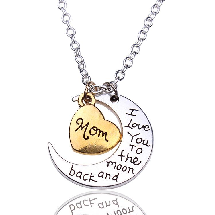 Moon Necklaces Pendant Silver Crescent Moon Heart Charm I Love You to the Moon And Back Pendant Necklaces