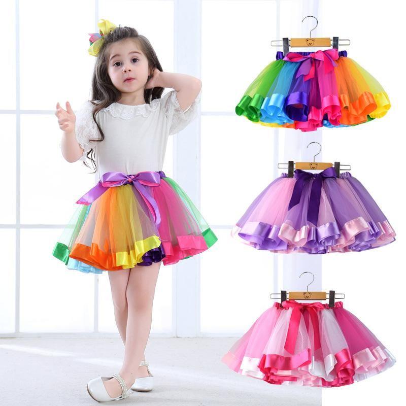 2017 Baby Girl Skirt Kids Rainbow Tutu Skirts for Girls Fluffy Chiffon Pettiskirt Tutu For Ballet Dance Wear Custome Party Wedding One Size