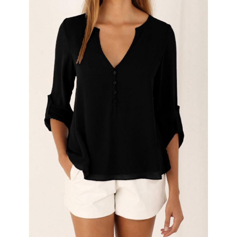 US free shipping wholesale Long Sleeve Casual women's Shirts / fashion Chiffon shirt blouse sexy lady Loose V-neck 5 color tops size S-5XL