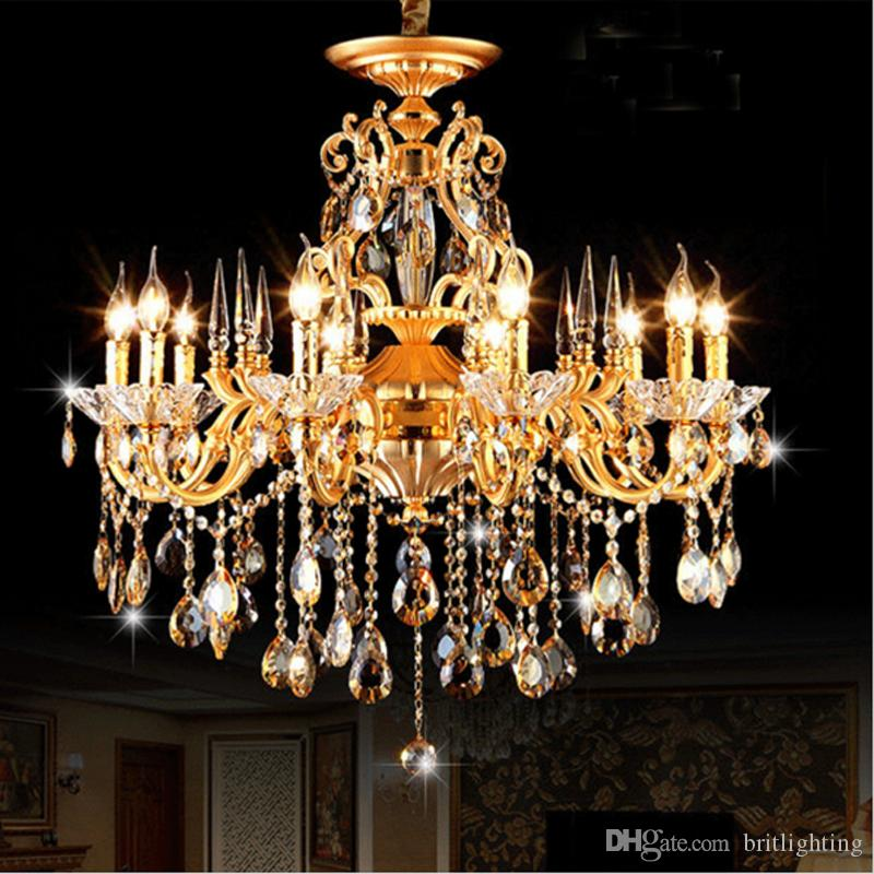 Bohemian Crystal Chandelier traditional vintage chandeliers bronze and brass chandelier Antique gold crystal candle lighting