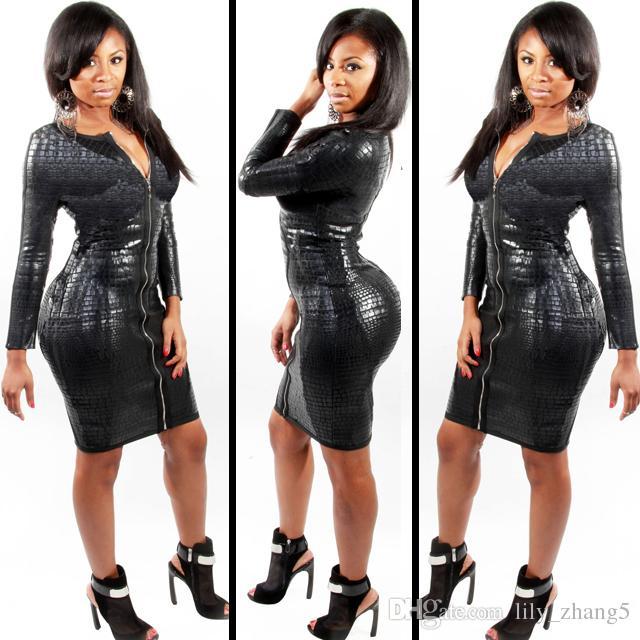 Free shipping Plus Size BBW Dress women clothing Sexy Black Snakeskin Faux Leather Bandage Dress 2017 Summer New Zipper Bodycon dress