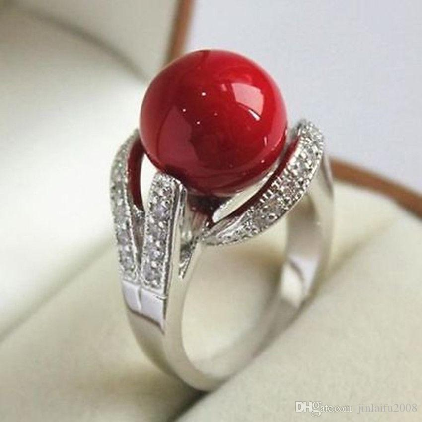 18KGP White & Gold Plated Inlay Crystal 12mm Red Shell Pearl Ring size:6 7 8 9