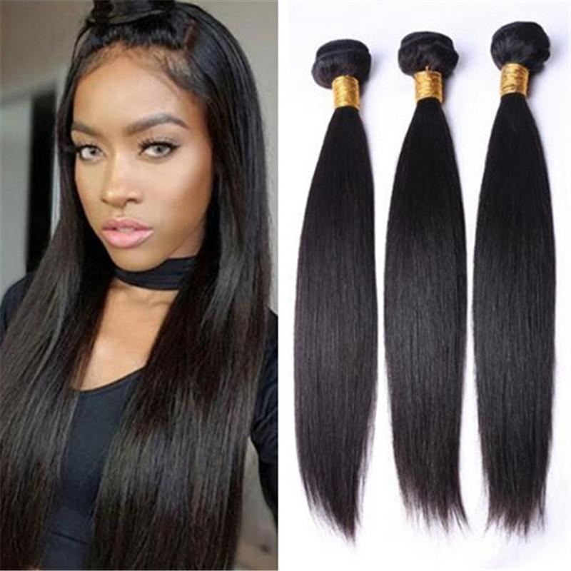 Virgin Bravilian Unprocessed No Chemical Long Human Straight Weave Natural Color Hair Weft 3 Bundles Weave Hair Styles Hair Weaving Styles From