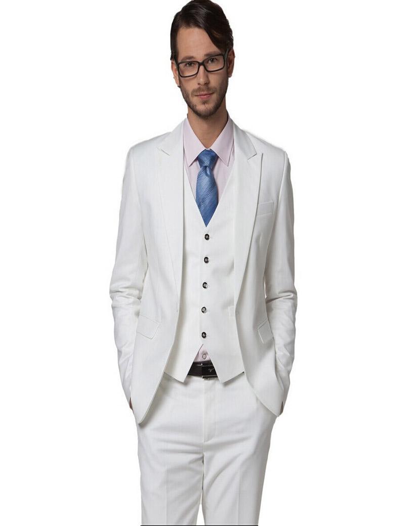 Wholesale Men's Clothing Slim Suit White Wedding Suits White Pesked Lapel Suit Dress Set Suit Groom Wear (jacket+pants+vest)