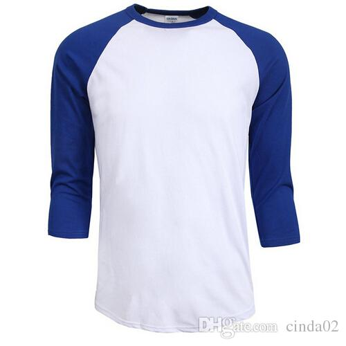 venta caliente del otoño del verano de los hombres del O-Cuello 100% ocasional del hombre camisa de manga raglán camiseta de algodón Jersey camiseta de los hombres