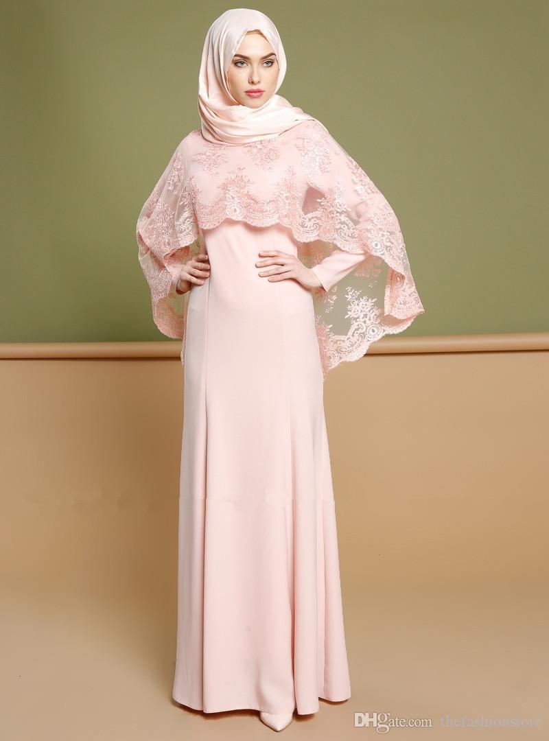 80d7856fba28 Wholesale Muslim Women Evening Party Abaya Dress S-2XL Plus Size Islamic  Women Lace Jilbab Dress with Hijab