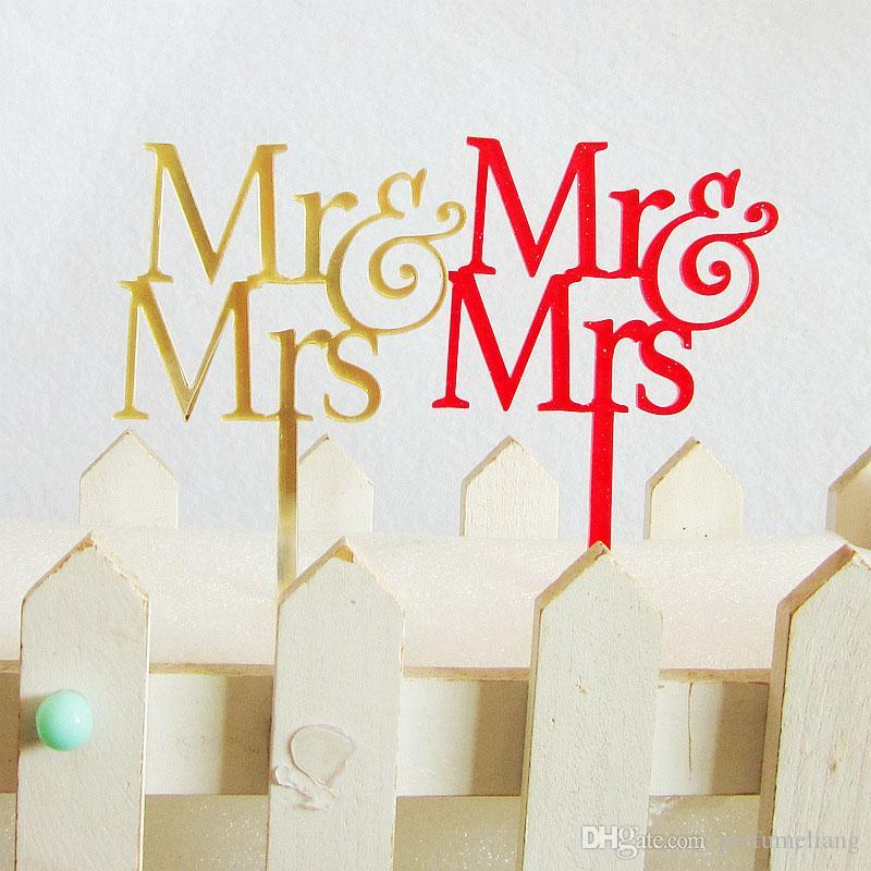 Mr&Mrs Elegant Acrylic Wedding Cake Topper Bride Groom Couple For Wedding Decoration Cake Decor Free Shipping ZA3773