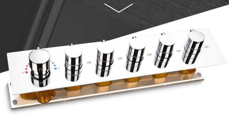Bathroom Shower Valve Large Water Flow Solid Shower Accessories 5 ways Chrome Brass Panel Diverter Faucet Tap Shower Controller (2)