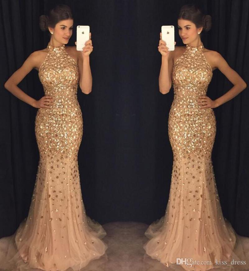 Bling Gold Mermaid Prom Dresses High Neck Sweep Train Sexy Luxury Rhinestone Royal Blue Evening Party Gowns 2019 Hot Sales Custom Made P260