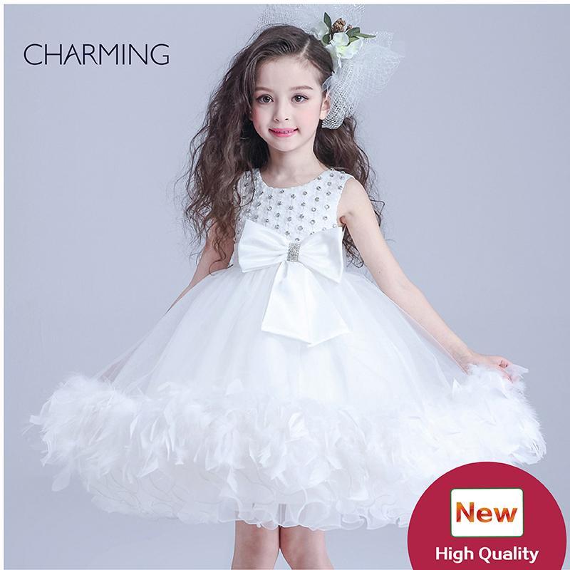 güzellik yarışmasında elbiseleri çocuklar Beyaz yuvarlak boyun Bant dekorasyon Krep kumaşlar Kabarcık Etek için tasarımcı elbiseler
