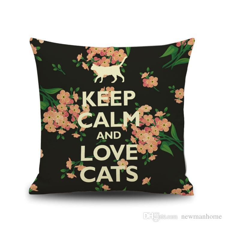 "High Quality Linen Cushion Cover Throw Pillow Case 45CM*45CM Size 18"" Length Printing Black Cat Catty Pretty Sofa Bed Use Decorative Home"