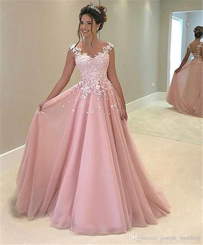 Abiti Da Cerimonia On Line.Party Dresses Abiti Da Cerimonia Da Sera 2019 A Line Pink Tulle