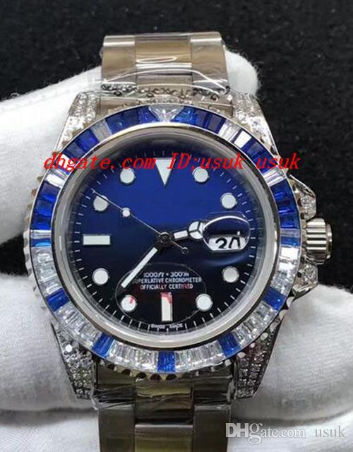 Orologio da polso di lusso 40 mm 116759 diamante II 18 carati oro bianco blu / quadrante nero gratuito carte da regalo automatico orologi meccanici nuovo arrivo