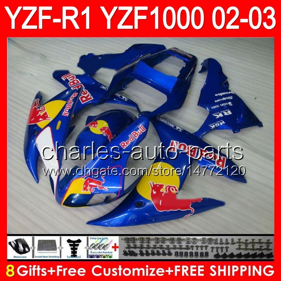 Yamaha Yzfr1 02 03 Yzf1000 YZF-R1 02-03 92NO133 YZF R 1 YZF R1 2002 2003 광택있는 파란색 페어링