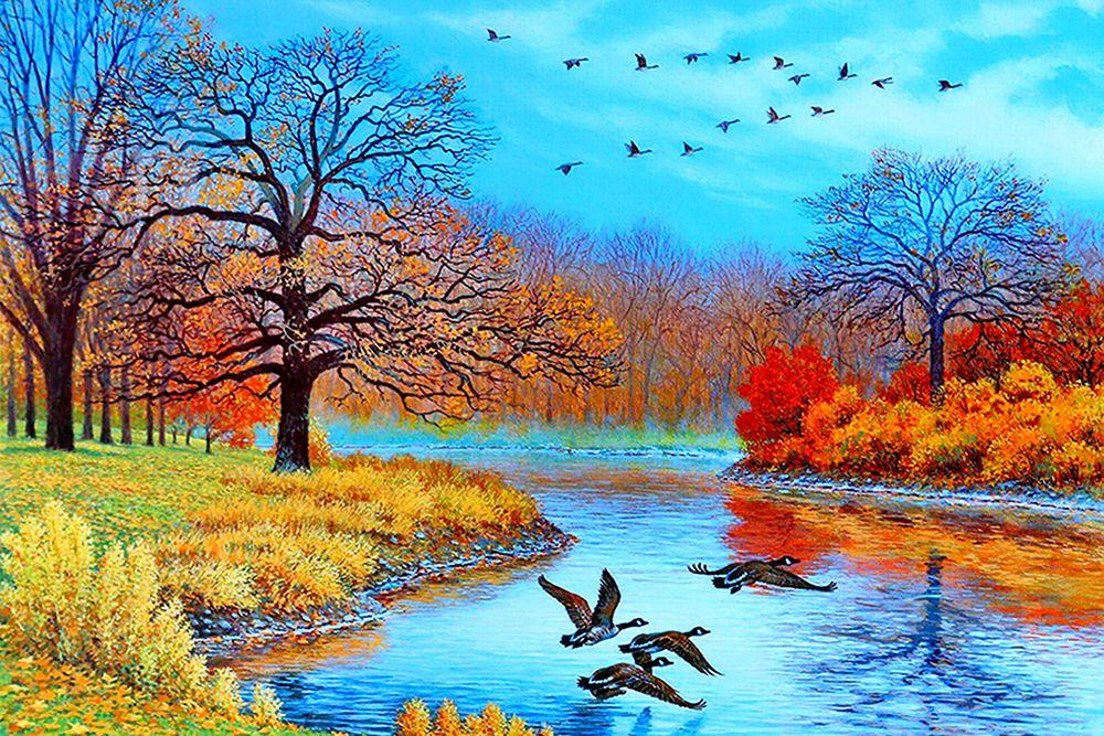 가을 풍경 그림 교차 DIY 5D 다이아몬드 스티치 라운드 다이아몬드 스티치 도구 키트 모자이크 객실 장식