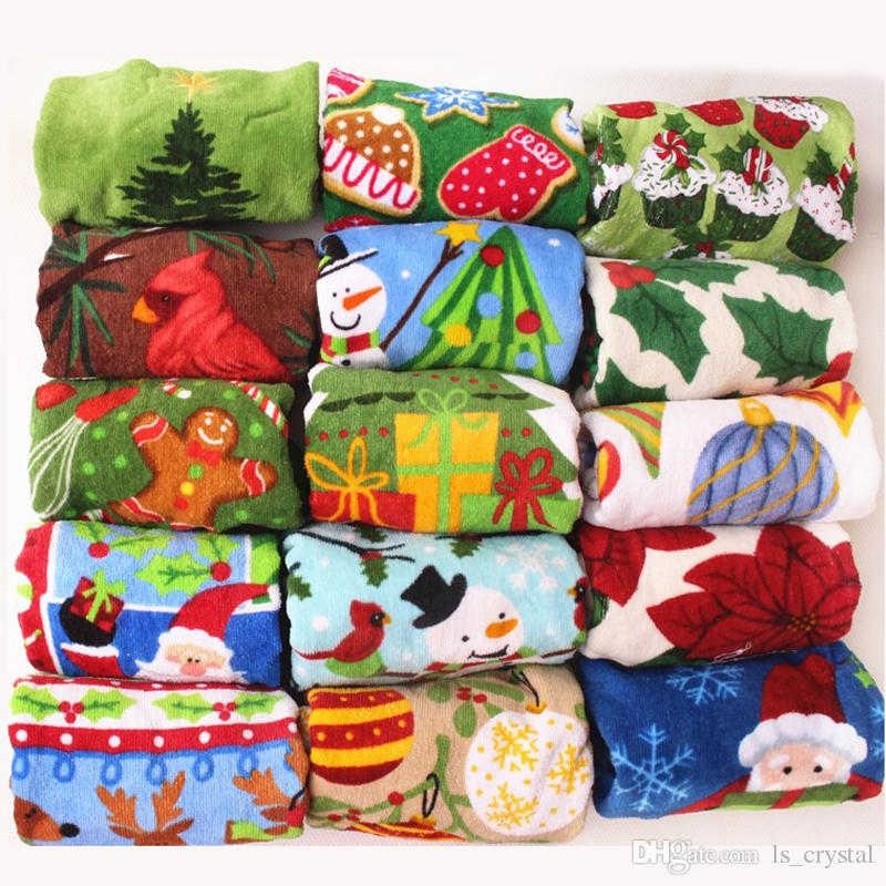 Mix size Xmas Images Cotton Hand Towel Cut Pile Printed Pillow Towel Tea Towel Christmas Gift 10pcs/lot RY1513