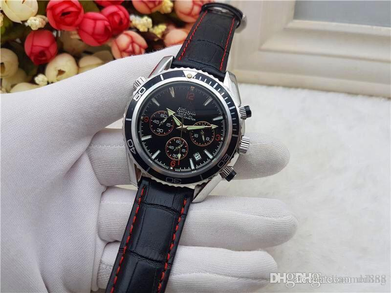 Alle Subdials Arbeit leiseure Mens Frauen-Edelstahl-Quarz-Armbanduhr Stoppuhr Uhr-Top relogies für Männer Uhren Bestes Geschenk