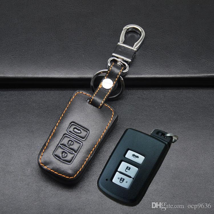 Hochwertige Echtem Leder Autoschlüssel Fob Fall Halter Tasche Für Toyota Camry. 3 Taste Kostenloser Versand