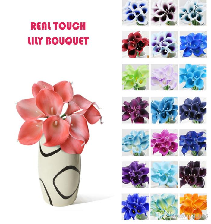 Wholesale 50pcs MOQ Real Touch Lily Simulation Wedding Flower Bouquets Artificial Calla Lily for Bridal and Home Decoration (no vase)