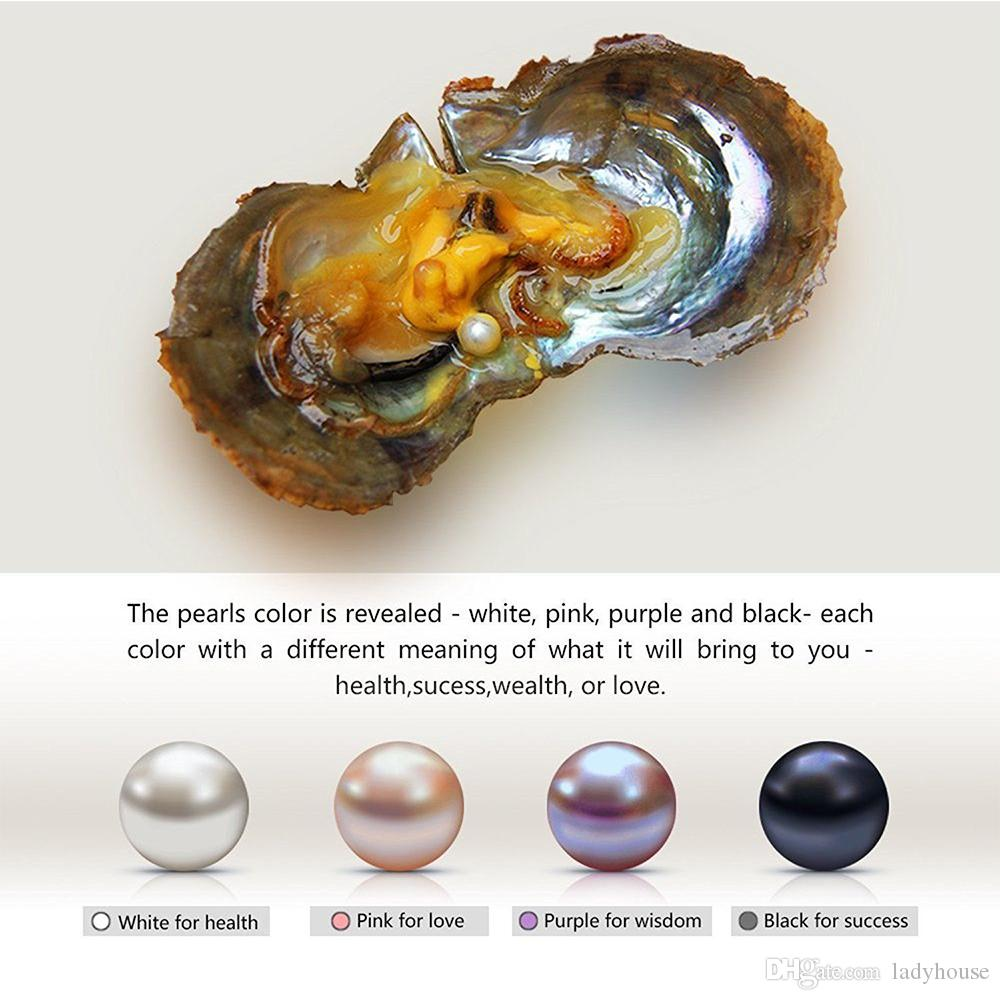 6-7mm\7.5-8mm Individually Vacuum Packed Natural Pearl in Oyster Round Cultured Pearl Oyster Pearl Oyster White Pink Purple Black