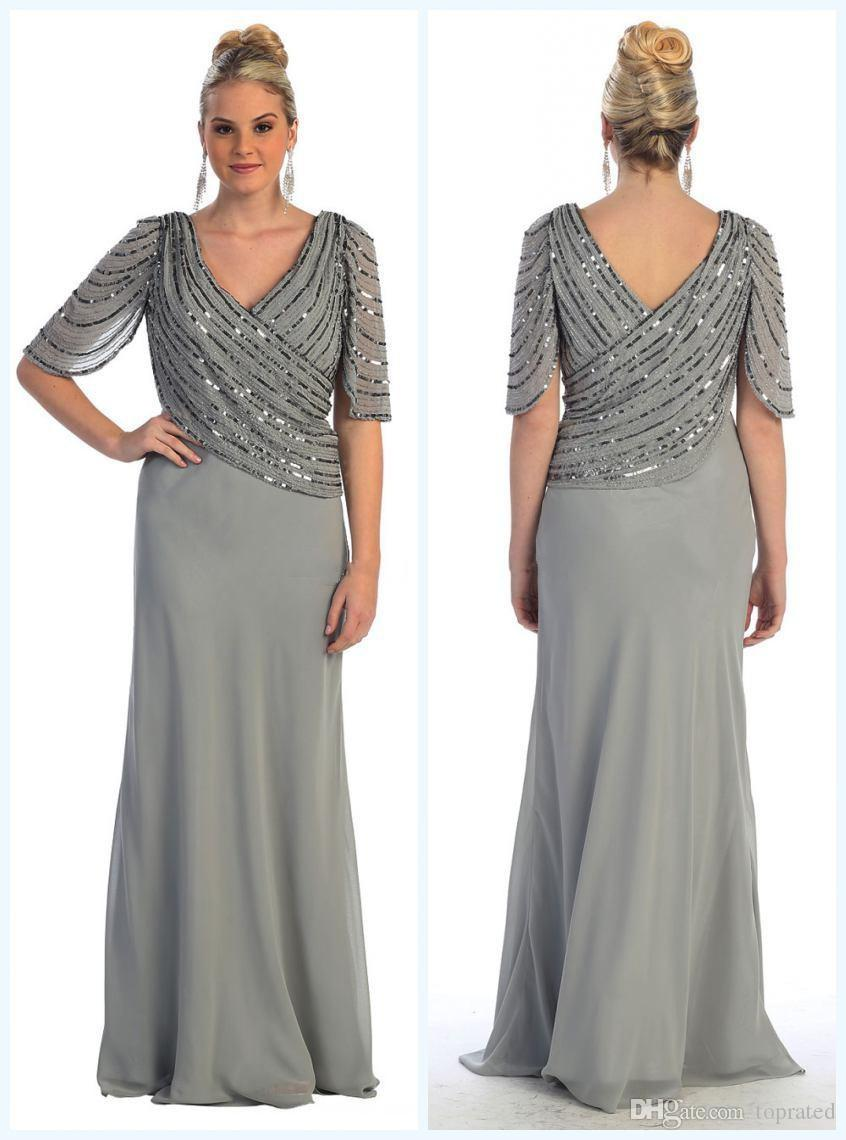 Modest Wedding Guest Women Formal Evening Gowns With Long Sleeves Sequined  2019 Mother Of The Bride Dresses Plus Size A Line Chiffon Cheap Canada 2019