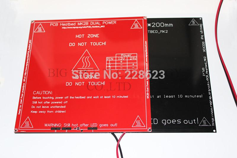 2019 MK2A 300*200*3 0mm RepRap RAMPS 1 B Aluminum Heatbed + LED Resistor +  Cable + Thermistors For 3D Printer MK2B From Huis, &Price
