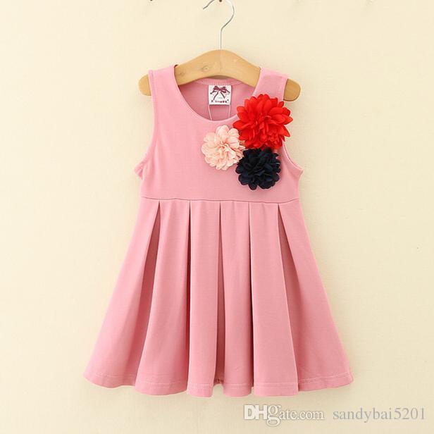 Kids Girls 3D Flower Dresses Baby Girl Vest Dress Infant Girls Tutu Dress for Party 2018 New Princess Vestidos Children Boutique Clothing