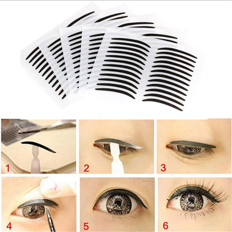 Wholesale-New24 Pairs*3 Black Eyelid Paste Invisible Double Eyelid Sticker Sootiness Makeup Eyeliner Paster Makeup Tools ZHH802