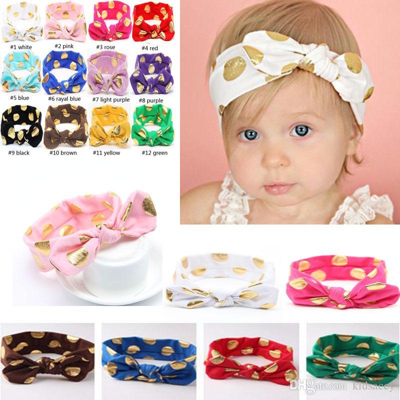 Nuova Europa infantile di modo delle neonate Dots fasce dell'orecchio del coniglietto Knot turbante fascia dei bambini dei bambini di Bowknot Headwrap Hairbands Babies Ragazze H