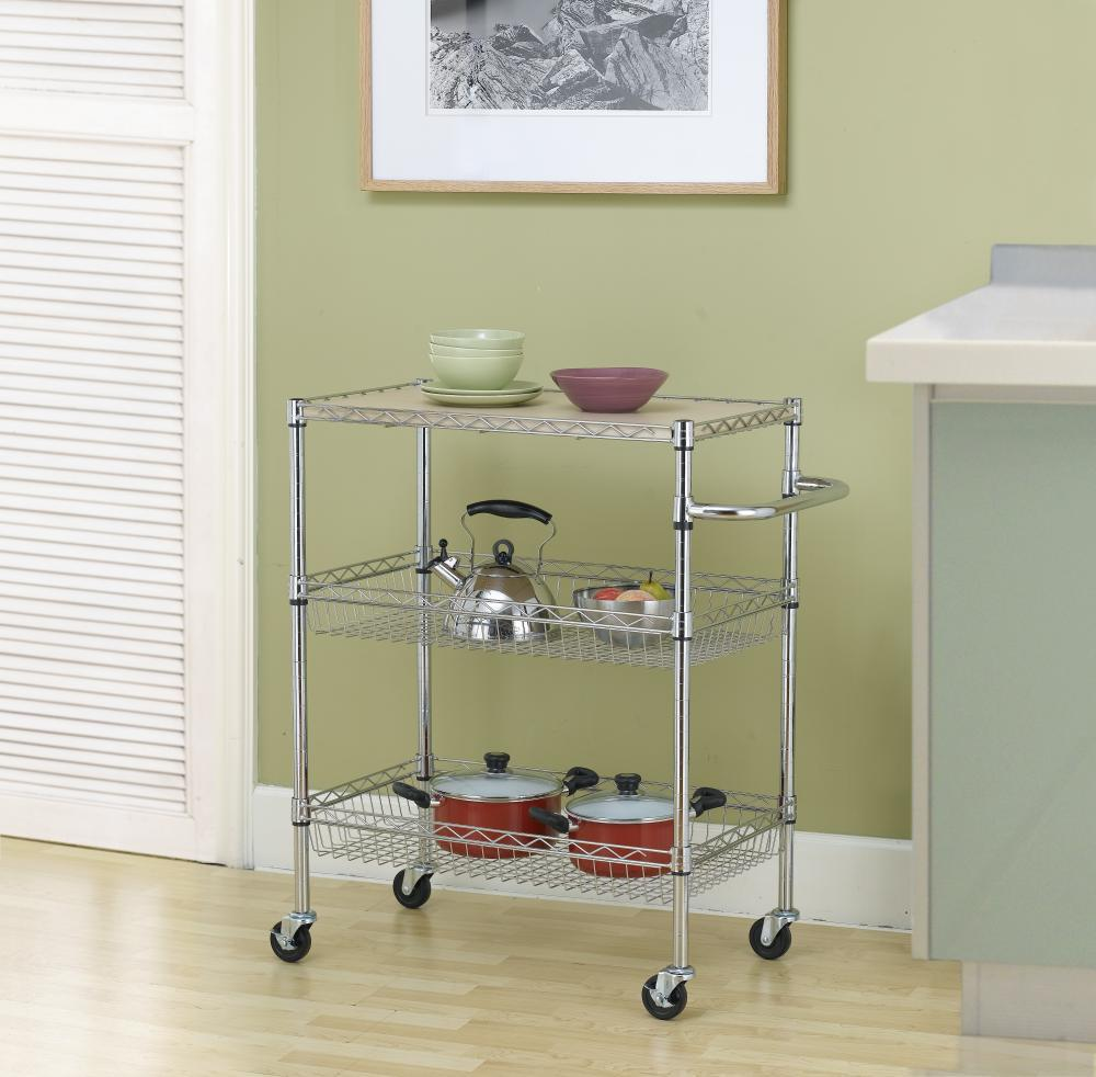 Chrome 3 Tier Wire Rolling Kitchen Cart Utility Food Service Microwave  Stand Receita Original Cupcake Receita Original De Cupcake From  Newlife2016dh, ...