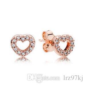 2017 primavera nuovo placcato oro rosa orecchini a cuore catturati con zirconi adatto per gioielli europei di fascino pandora