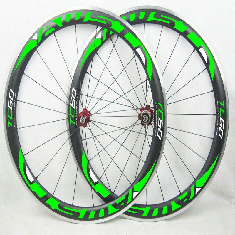 Hot sale aluminum surface 60mm bicycle carbon wheels 3k basalt surface 700C road bike wheels green decal china cycling wheels free shipping