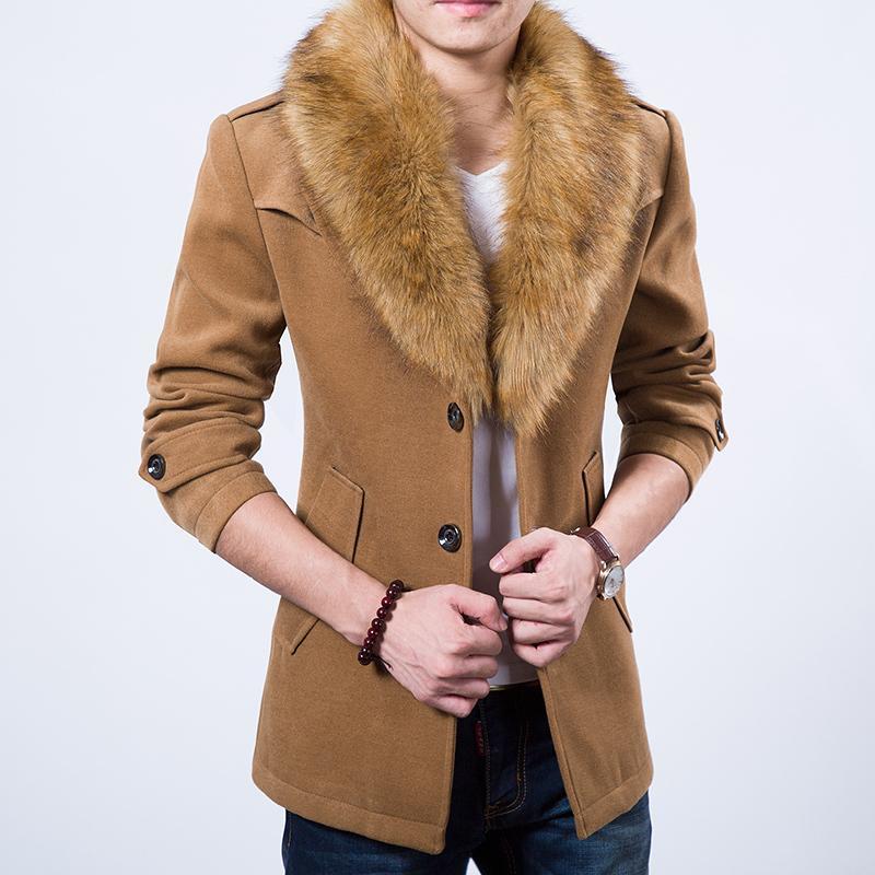 Wholesale- 2015 spedizione gratuita più spesso cappotto di velluto khaki blu scuro bordeaux nero a quattro colori collo di pelliccia cappotto classico di moda