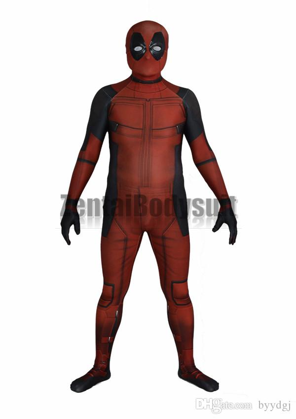 3D Deadpool Costume Bodysuit Printed Spandex Lycra Zentai Costumes with Muscle Shading