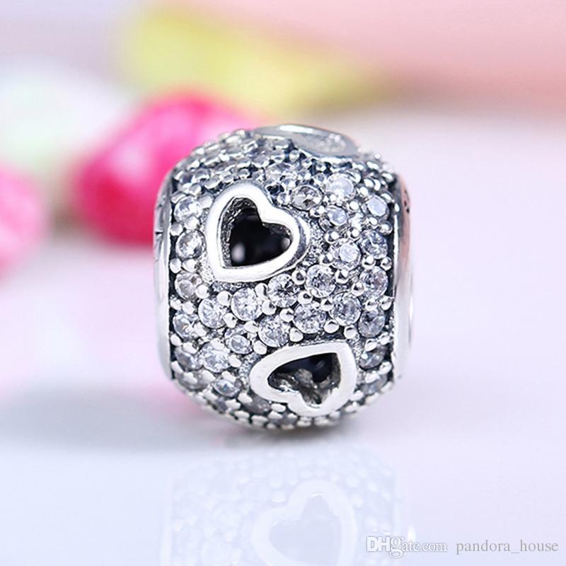 Nouveau Réel 925 En Argent Sterling Non Plaqué De Luxe Ajouré Coeur CZ Charmes Européens Charmes Perles Fit Pandora Bracelet DIY Bijoux