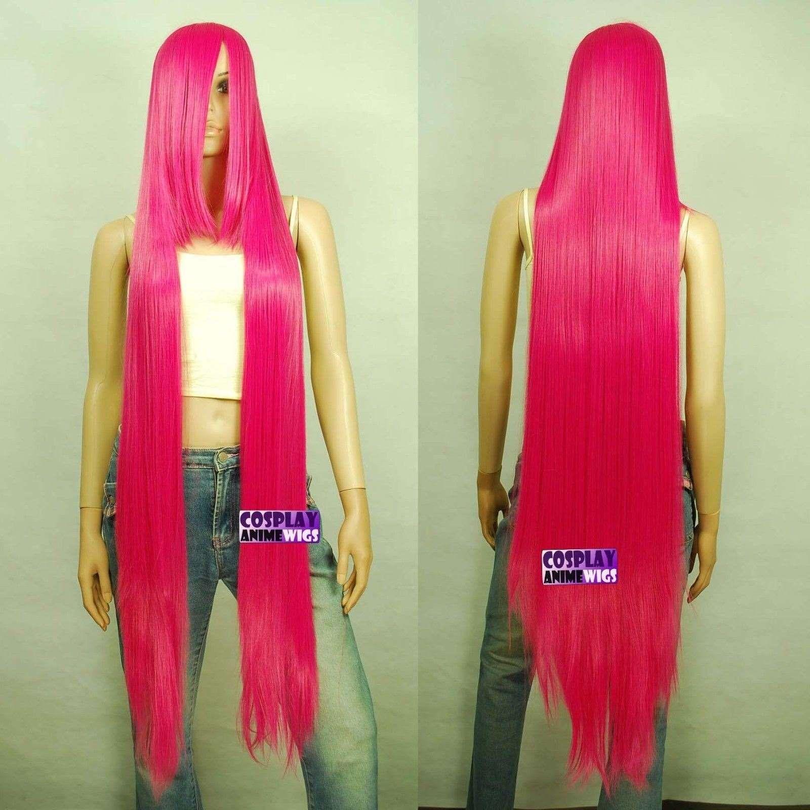 130cm Hot Rose Pink Hi_Temp Series 55cm Extra lunga Bang Parrucche Cosplay 99_HRP