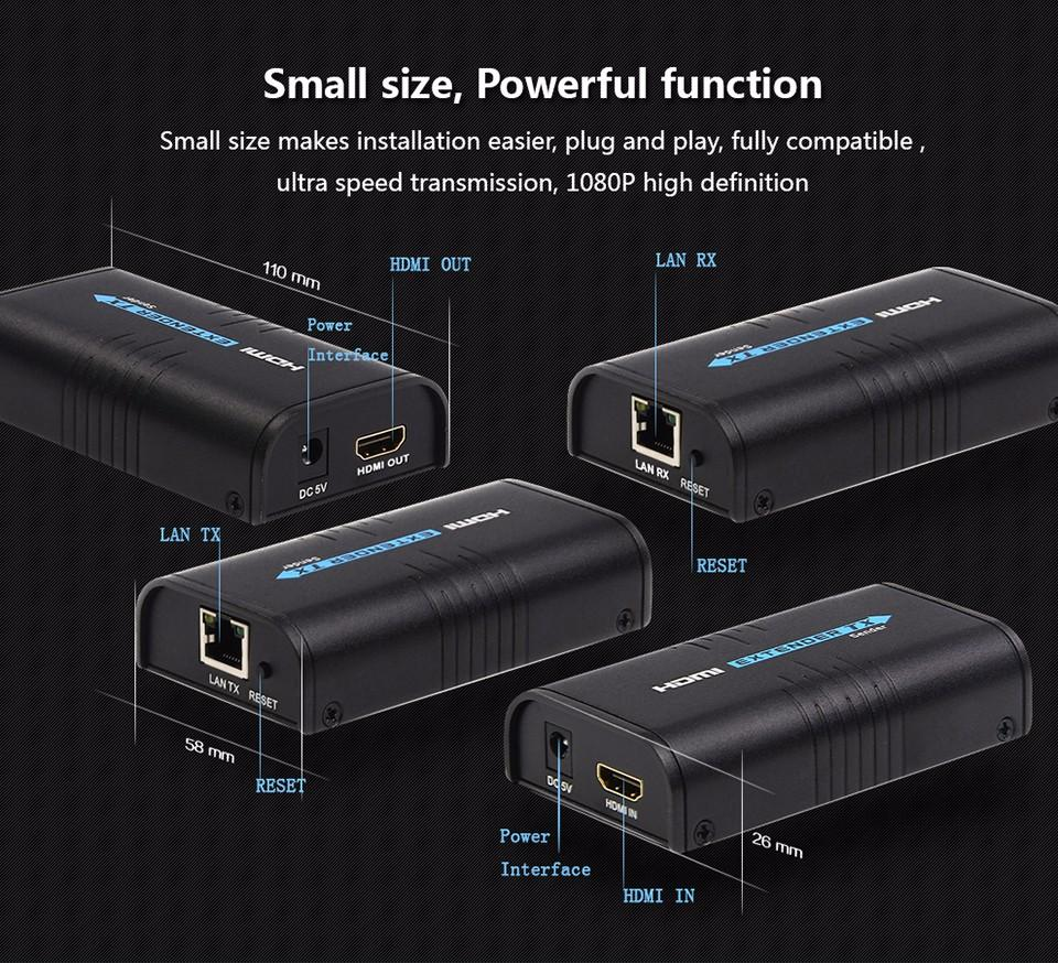 Mirabox HDMI splitter HDMI extender via Rj45 extending 120m(393ft) distance support 1080p HD vedio transmiting for home theater