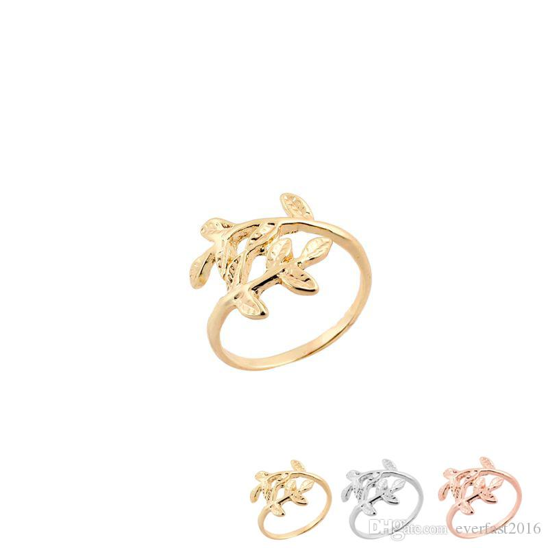 Wholesale Uneven Leaf Branch Silver Gold Rose Gold Plated Delicate Plant Finger Ring For Women EFR063