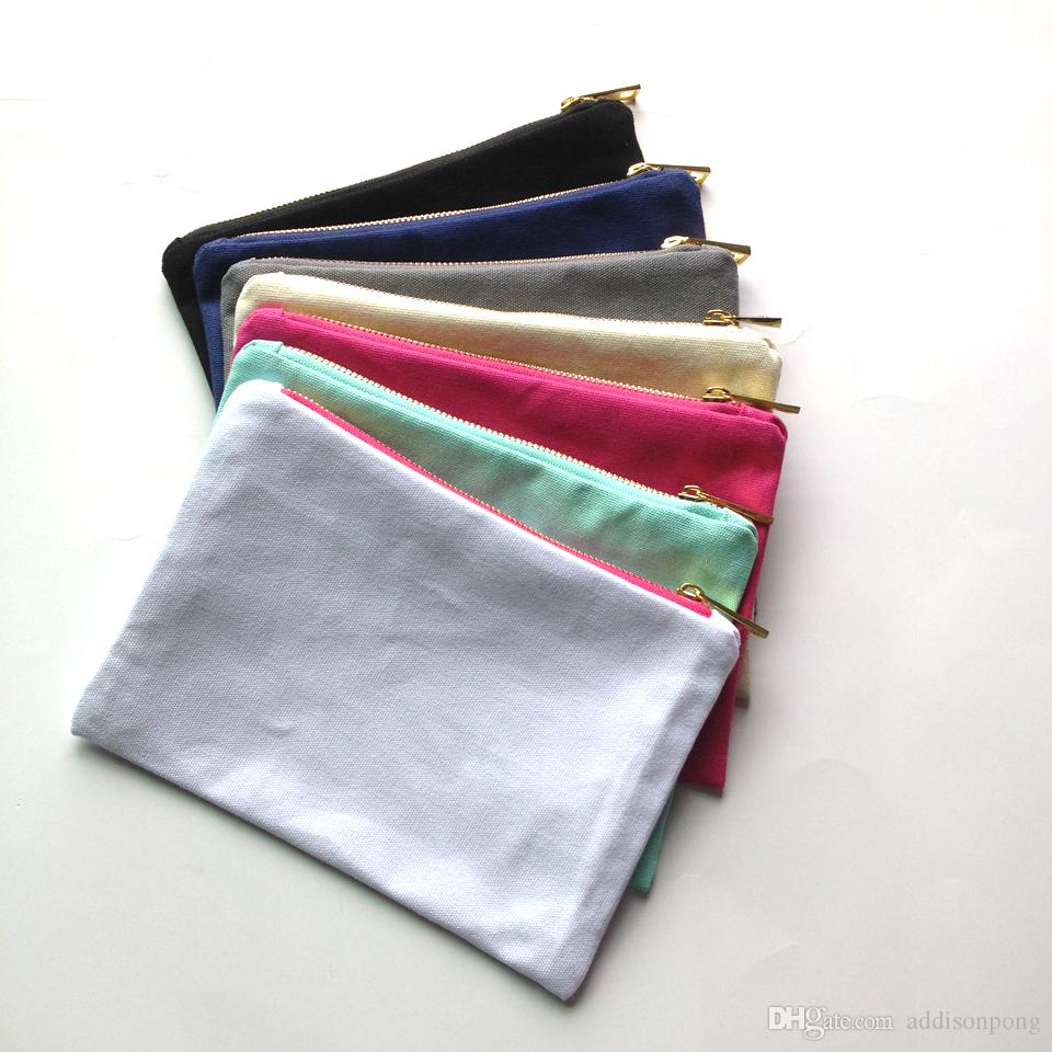 35pcs/lot solid color canvas makeup bag with gold zip gold lining 6*9in cosmetic bag for DIY print black/white/grey/pink/navy/mint color