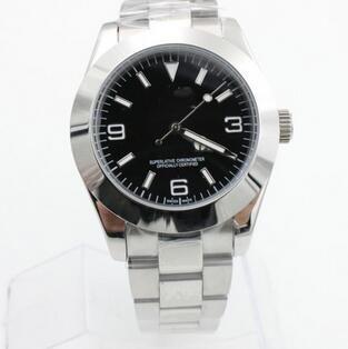 Novas publicações de luxo Automatic Mens Black Face Aço inoxidável Relógio Mecânico Casual Dropship resistente Men Relógios de pulso Moda Água