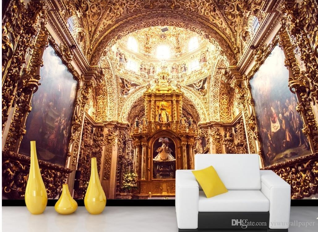 Hohe Qualität anpassen Größe Moderne europäische Hofkirche Stereowand 3D Wallpaper 3D-Tapeten für tv Hintergrund