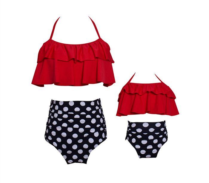Mother Daughter Swimming Suit Mom Girl Floral Print Top + Pants 2pcs Sets Women Kids Dot Swimwear Family Match Swimsuit Bathing Beachwear