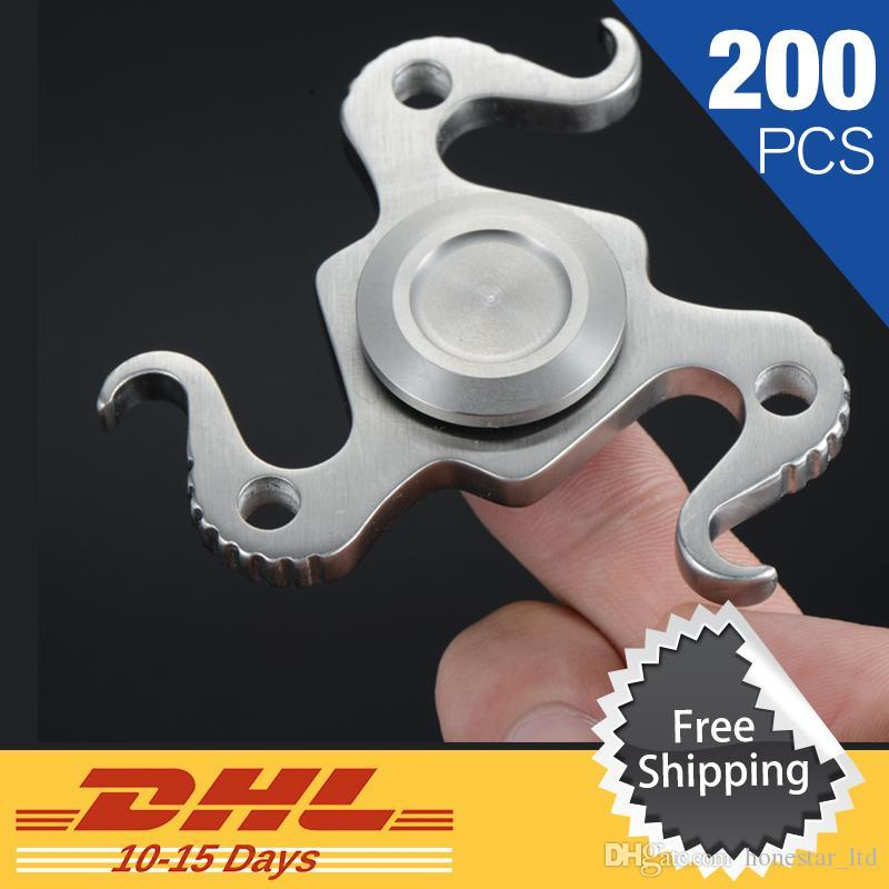 200 Pcs DHL Free Shipping New Beer Bottle Opener Hand Spinner Stainless Steel Fidget Spinner EDC Gyro Anti Stress Toys Bar Tools