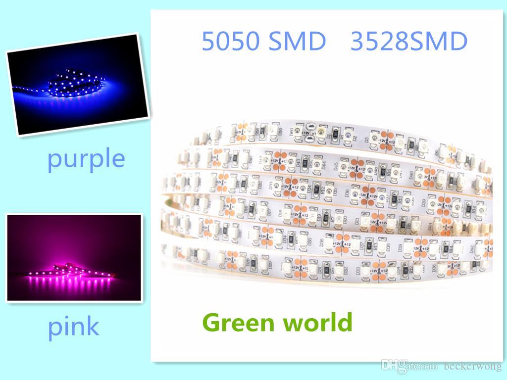 5m / Lot 5050 / 2835SMD lila / pink Sonderfarbe 300SMD / 600SMD hochwertiger nicht-wasserdichtes IP44 für Innen-Verkauf Streifen Miniauftrag 5pcs