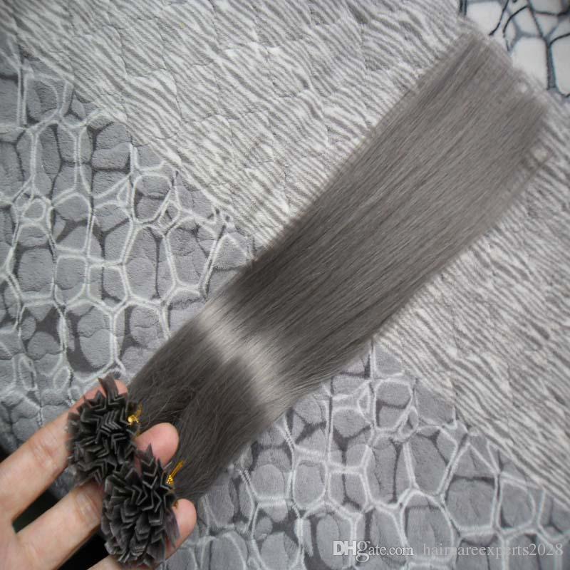 7a V-Tip Haarverlängerungen Fusion 100g Gerade Brasilianische Spitze Haarverlängerungen Grau 100 stücke Keratin Tip Haarverlängerungen 1g / s